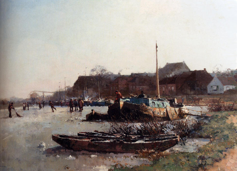 famous painting Winterfun On De Loswal, Hattem of Cornelis Vreedenburgh