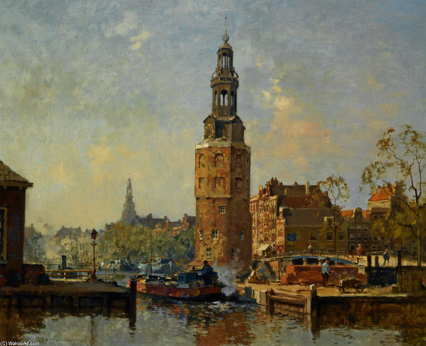 famous painting A View of the Montelbaanstoren Amsterdam of Cornelis Vreedenburgh