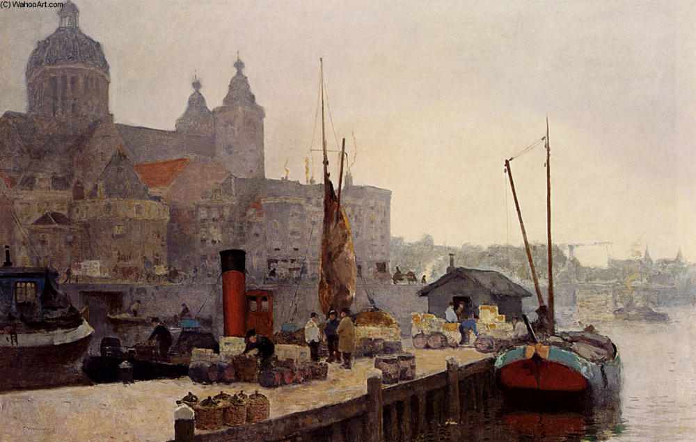 famous painting A View Of Amsterdam With The St. Nicolaas Church of Cornelis Vreedenburgh