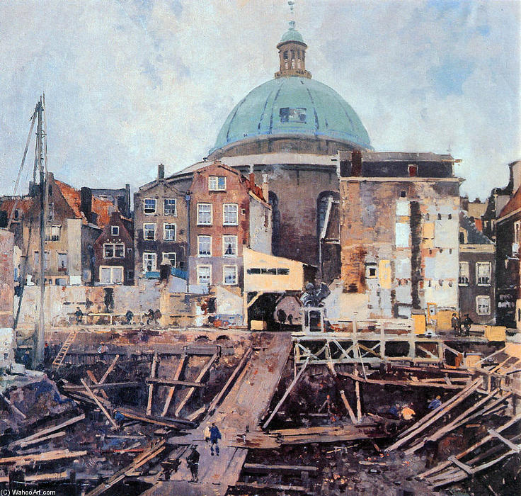 famous painting Building Well With Church Amsterdam of Cornelis Vreedenburgh