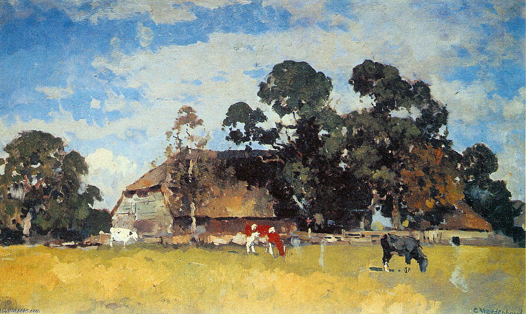 famous painting Cows in a meadow of Cornelis Vreedenburgh