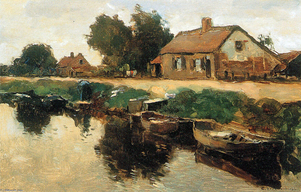 famous painting Farm Along The Canal of Cornelis Vreedenburgh