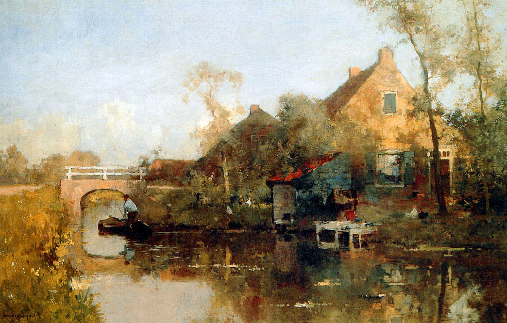 famous painting Farm next to canal of Cornelis Vreedenburgh