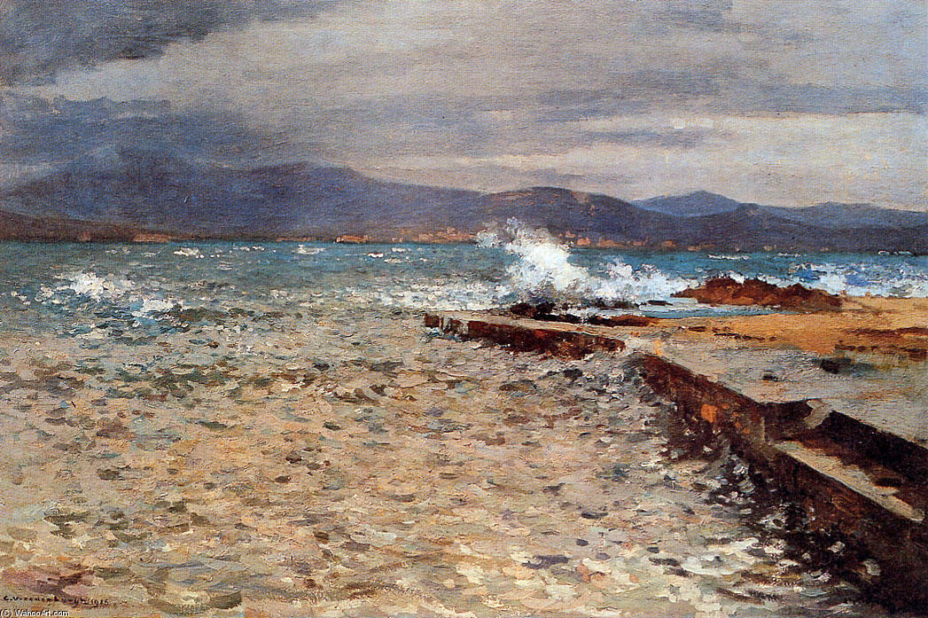 famous painting Pier Inn The Bay Of St Tropez of Cornelis Vreedenburgh