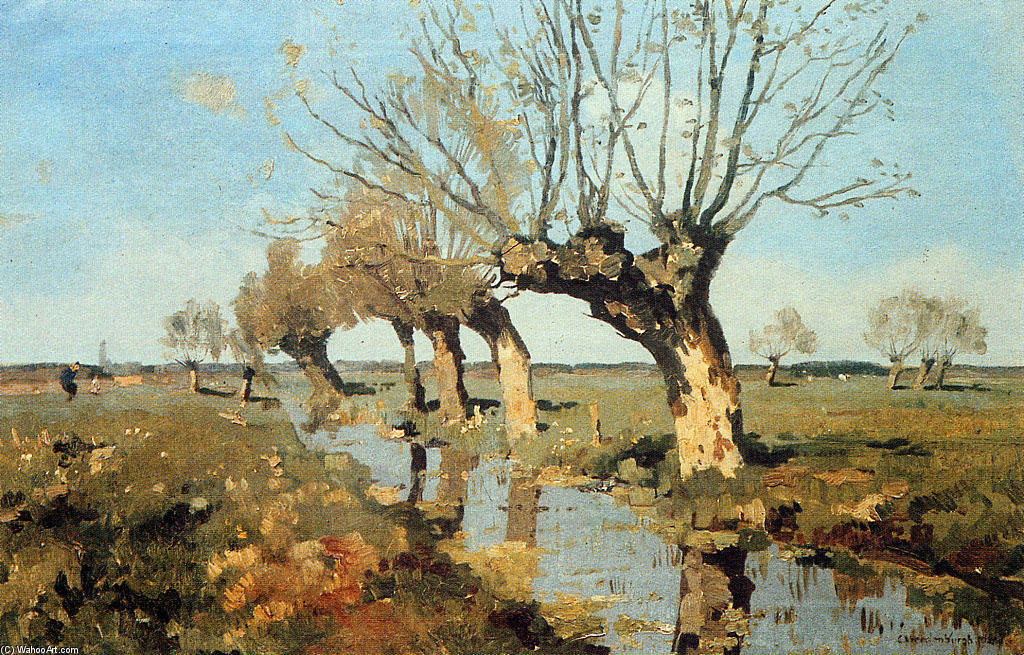 famous painting Pollard Willow At The Side Of The Broo of Cornelis Vreedenburgh