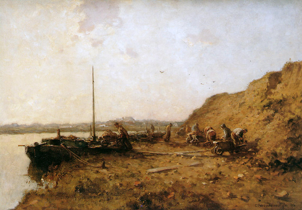 famous painting Sand diggers of Cornelis Vreedenburgh