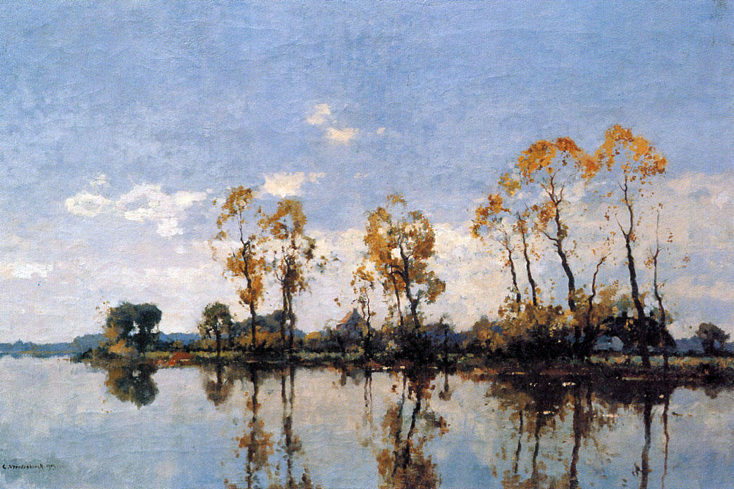 famous painting Trees At The Waal of Cornelis Vreedenburgh