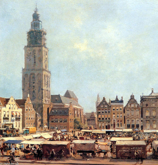 famous painting View On Market In Groningen of Cornelis Vreedenburgh