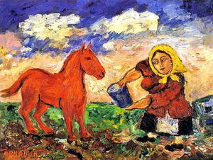 David Davidovich Burliuk - Peasant and horse