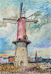 David Davidovich Burliuk - Windmill in Rotterdam