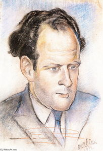 David Davidovich Burliuk - Portrait of Sergei Eisenstein