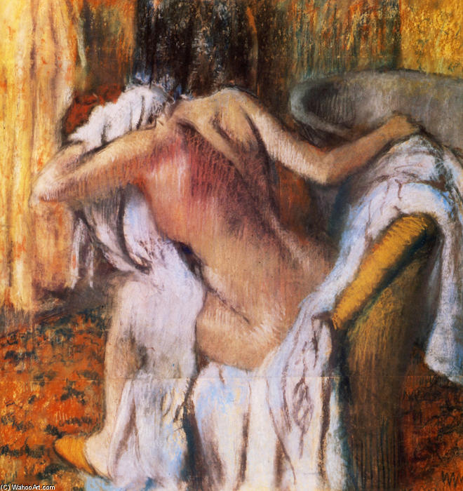 famous painting After the Bath, Woman Drying Herself of Edgar Degas