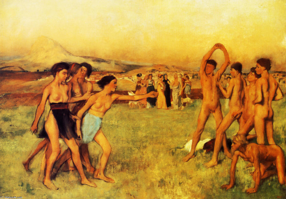 famous painting Spartan Girls Challenging Boys of Edgar Degas