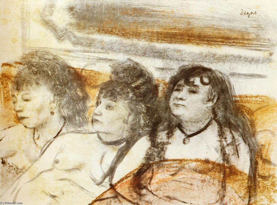 famous painting Three girls sitting en face of Edgar Degas