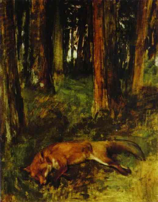 famous painting Dead fox lying in the Undergrowth of Edgar Degas