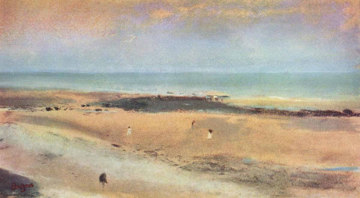 famous painting Beach at Ebbe of Edgar Degas