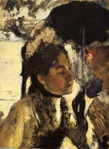 Edgar Degas - Tuileries, the woman with a parasol