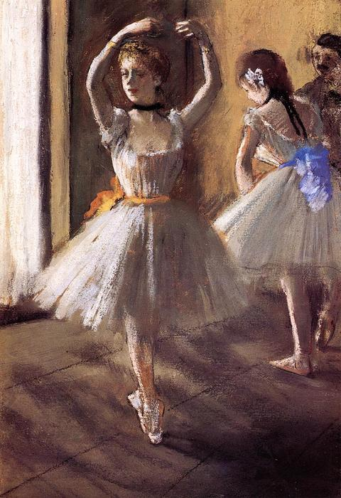 famous painting Two Dancers in the Studio (Dance School) of Edgar Degas