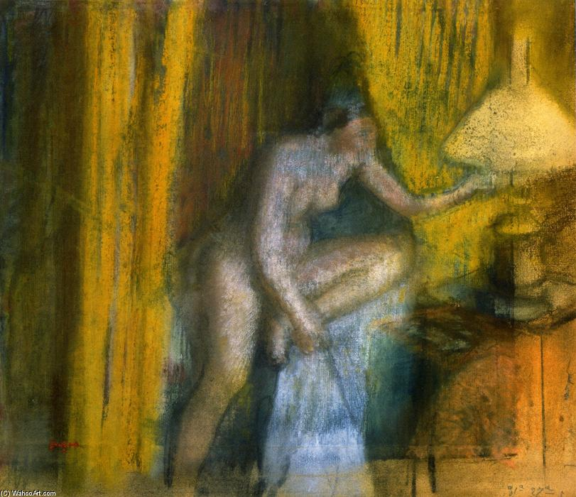 famous painting Bedtime (Woman Extinguishing Her Lamp) of Edgar Degas