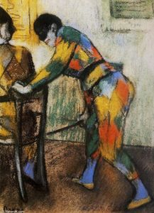 Edgar Degas - Two harlequins