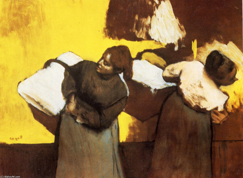 famous painting Laundresses Carrying Linen in Town of Edgar Degas