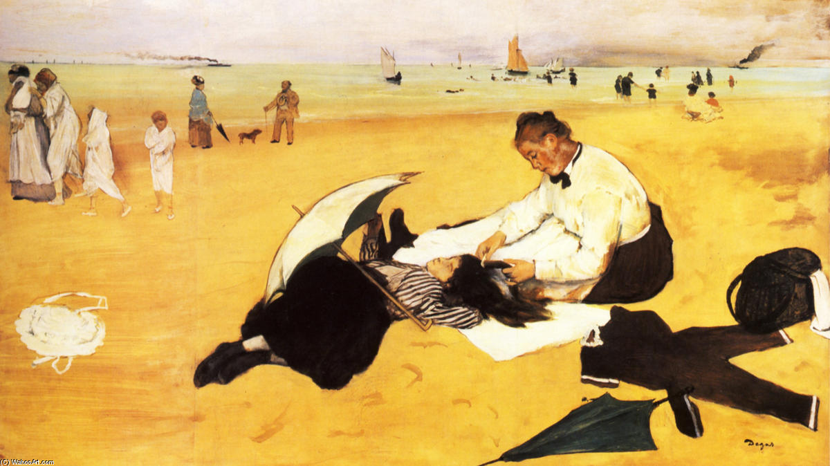 famous painting Beach Scene of Edgar Degas