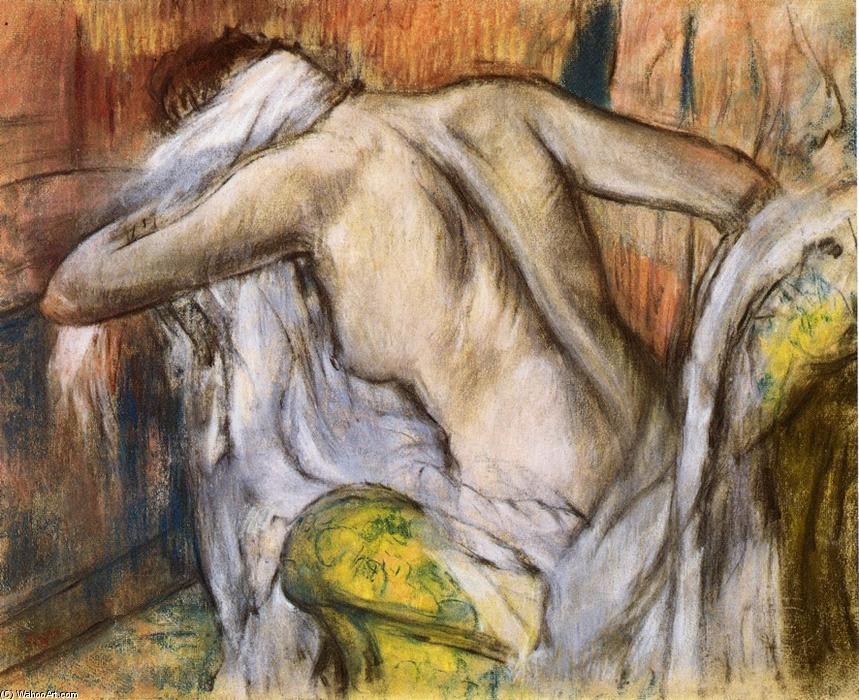 famous painting After Bathing, Woman Drying Herself of Edgar Degas