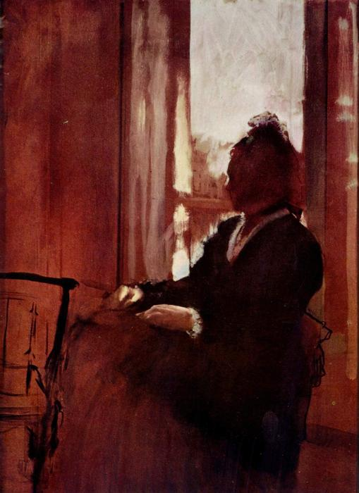 famous painting Woman at a Window of Edgar Degas