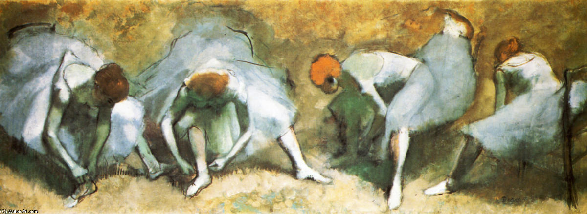 famous painting Dancers tying shoes of Edgar Degas