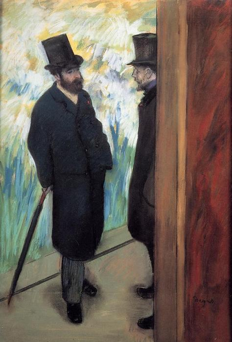 famous painting Friends at the Theatre, Ludovic Halevy and Albert Cave of Edgar Degas
