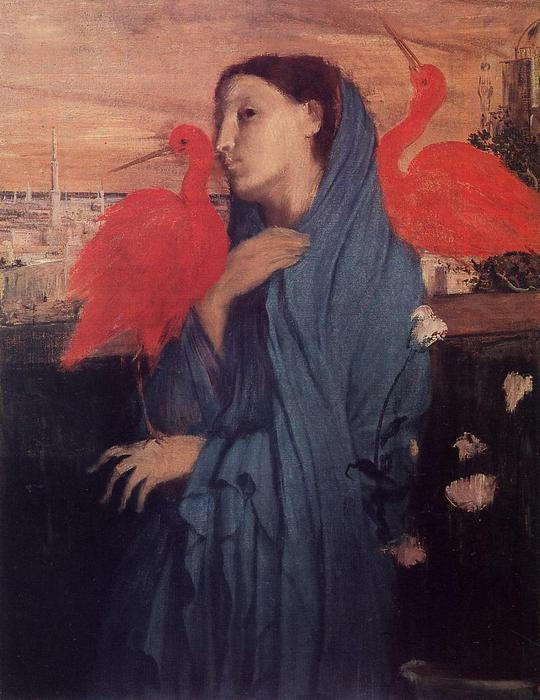 famous painting Woman on a Terrace (Young Woman and Ibis) of Edgar Degas