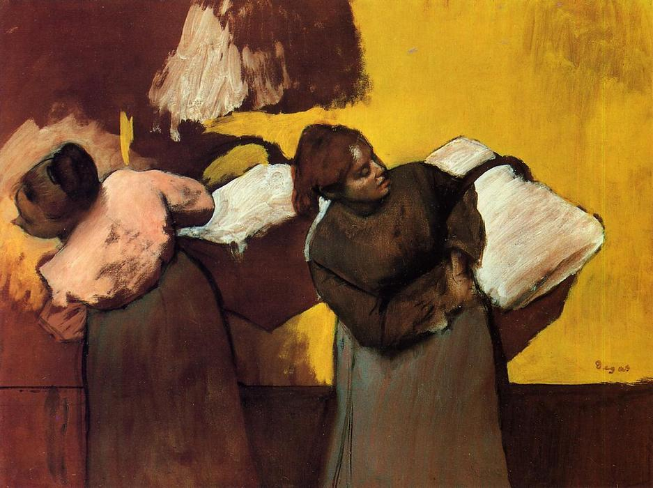 famous painting Laundress Carrying Linen of Edgar Degas