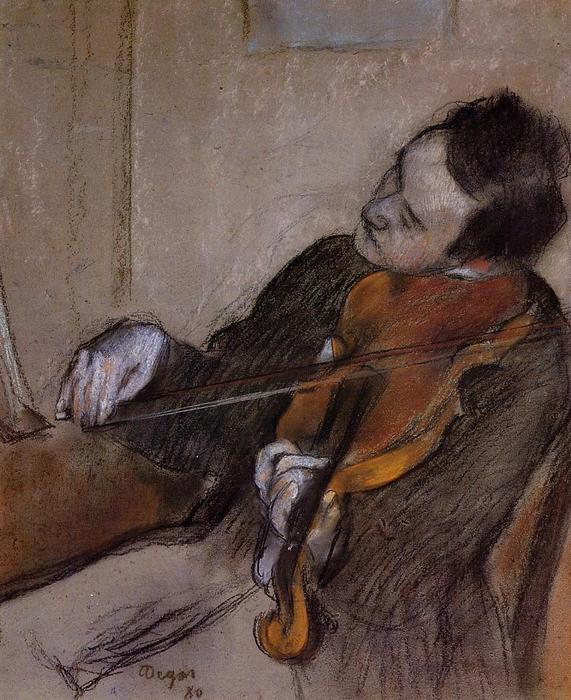 famous painting The Violist of Edgar Degas