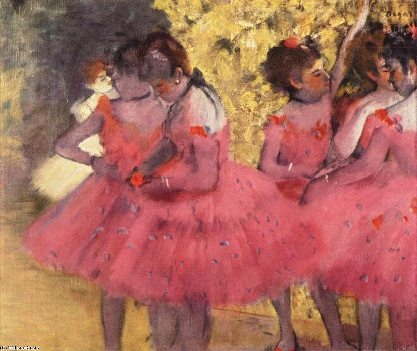 famous painting The Pink Dancers, Before the Ballet of Edgar Degas