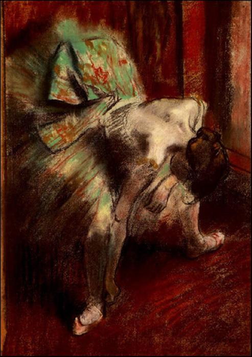famous painting Dancer in Green Tutu of Edgar Degas