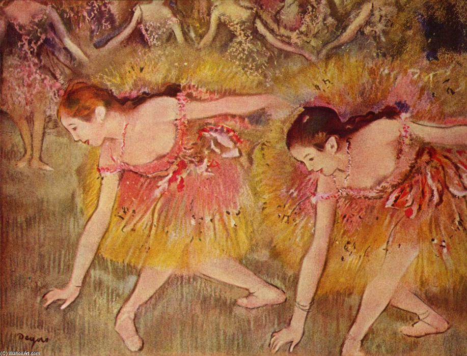 famous painting Dancers Bending Down of Edgar Degas