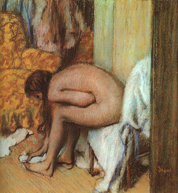 famous painting After the Bath (Woman Drying her feet) of Edgar Degas