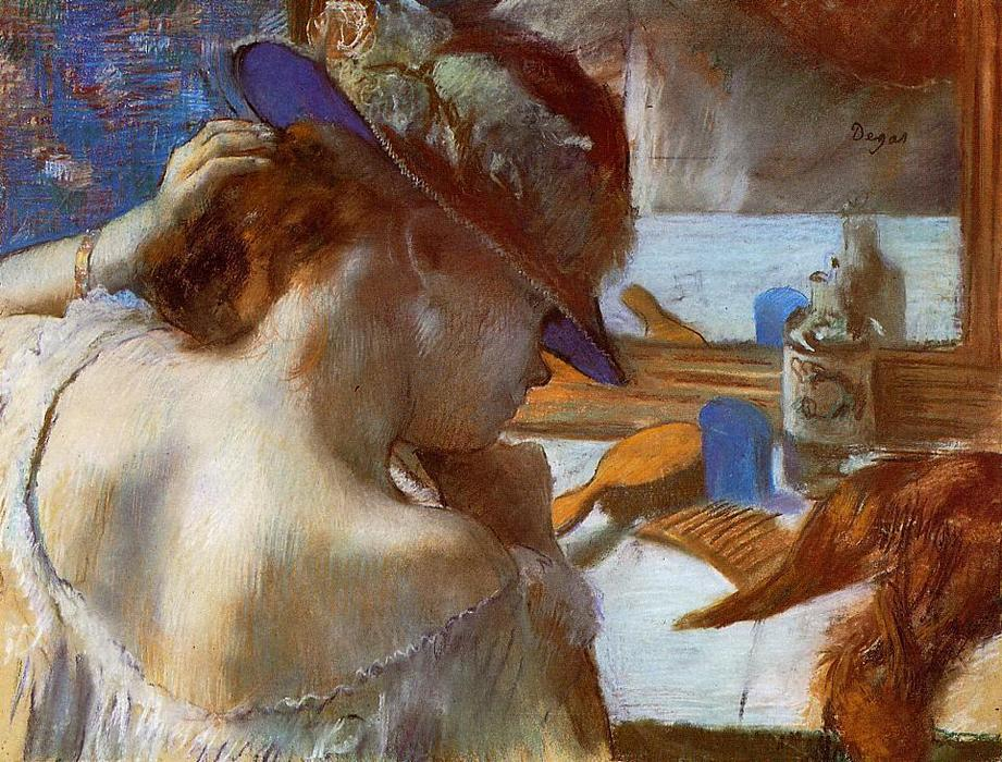 famous painting At the Mirror of Edgar Degas