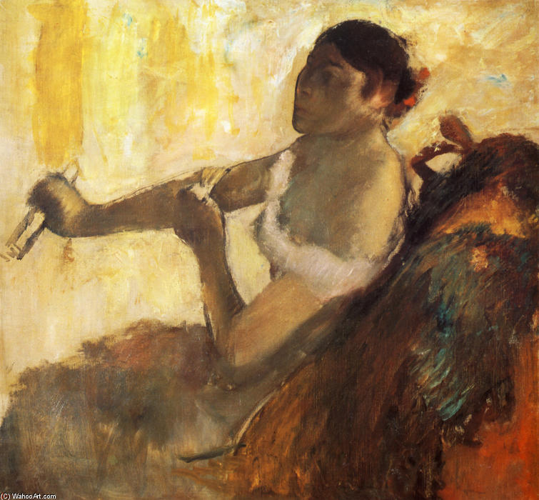 famous painting Seated Woman pulling her glove of Edgar Degas