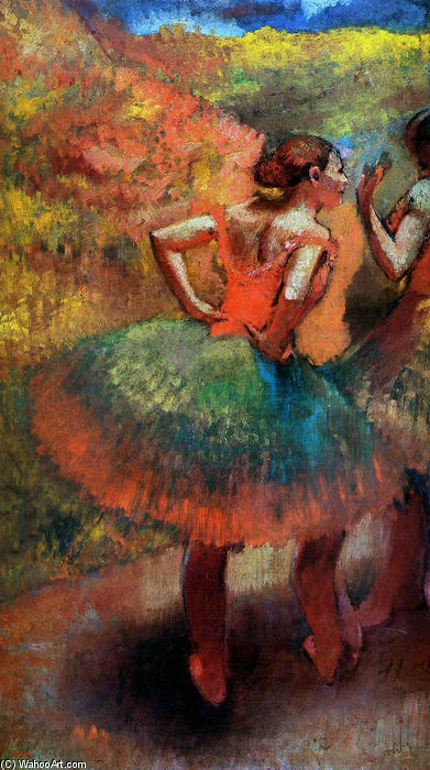 Order Museum Quality Copies Impressionism | Two Dancers in Green Skirts, Landscape Scener by Edgar Degas | TopImpressionists.com