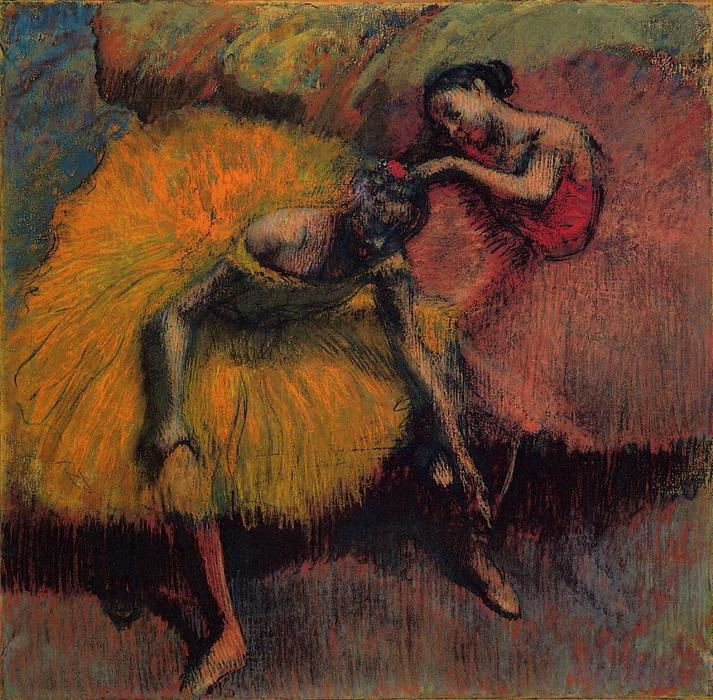 famous painting Two Dancers in Yellow and Pink of Edgar Degas