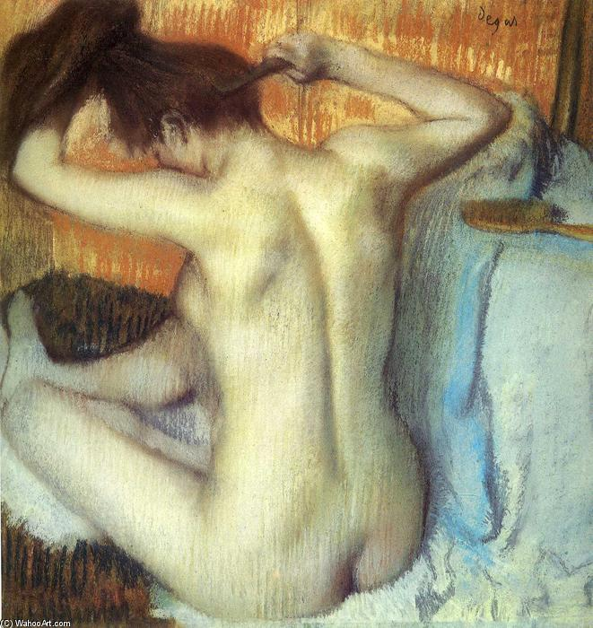 famous painting Woman Combing Her Hair of Edgar Degas