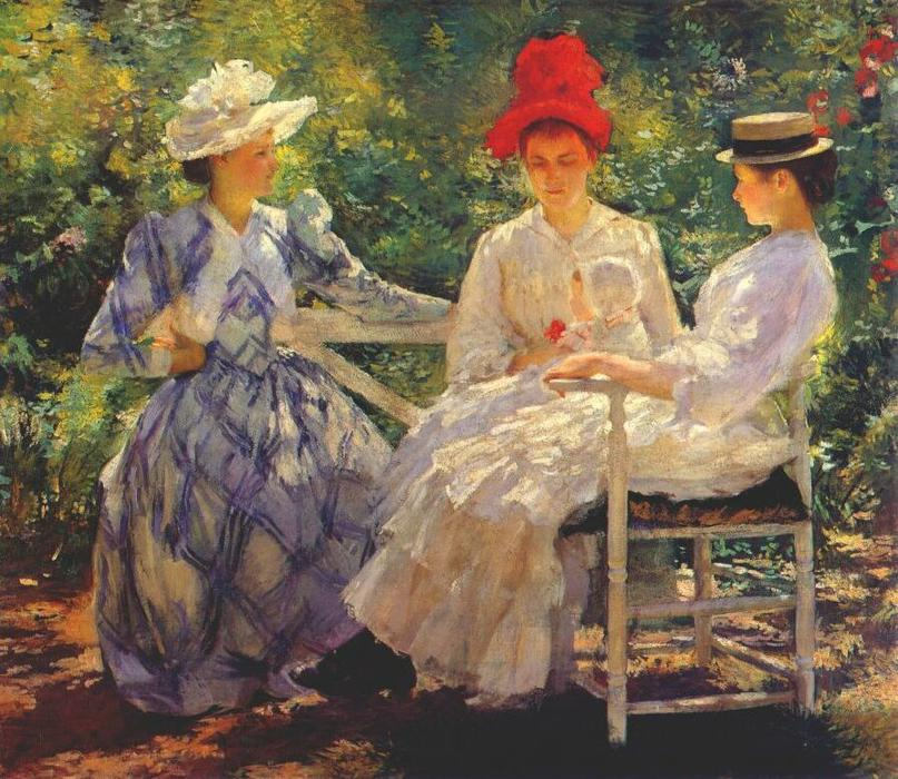 famous painting In a Garden of Edmund Charles Tarbell