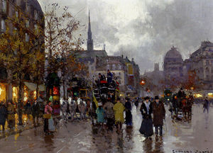 Edouard Cortes - View of the Street Rivoli and Notre Dame