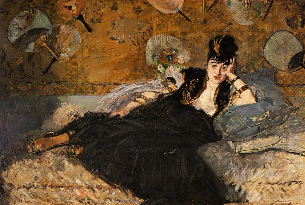 famous painting The Lady with Fans, Portrait of Nina de Callias of Edouard Manet