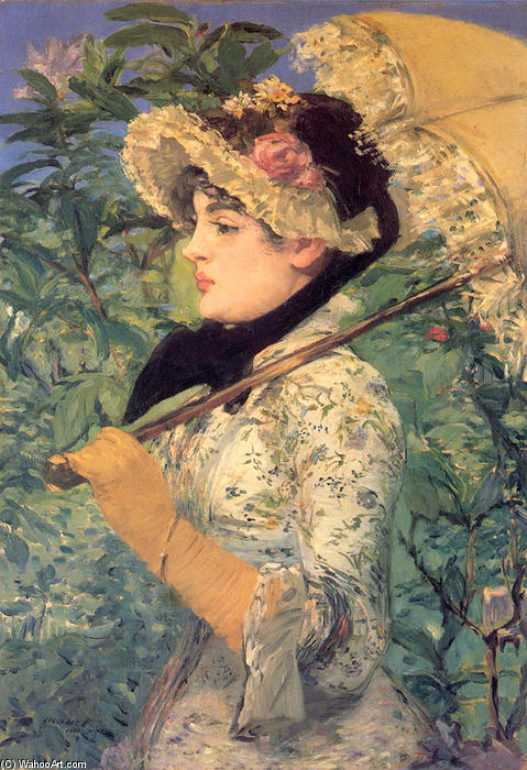 Order Oil Painting Impressionism : Spring (Study of Jeanne Demarsy) by Edouard Manet | TopImpressionists.com