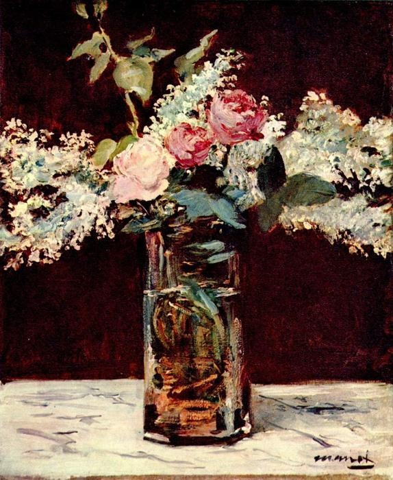 famous painting Lilac and roses of Edouard Manet