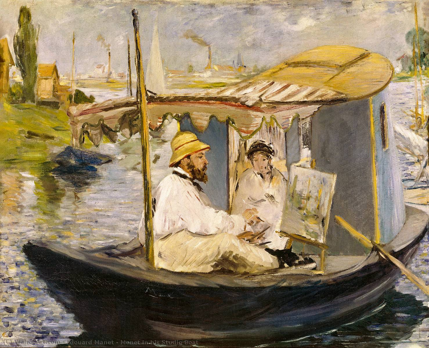 famous painting Monet in his Studio Boat of Edouard Manet