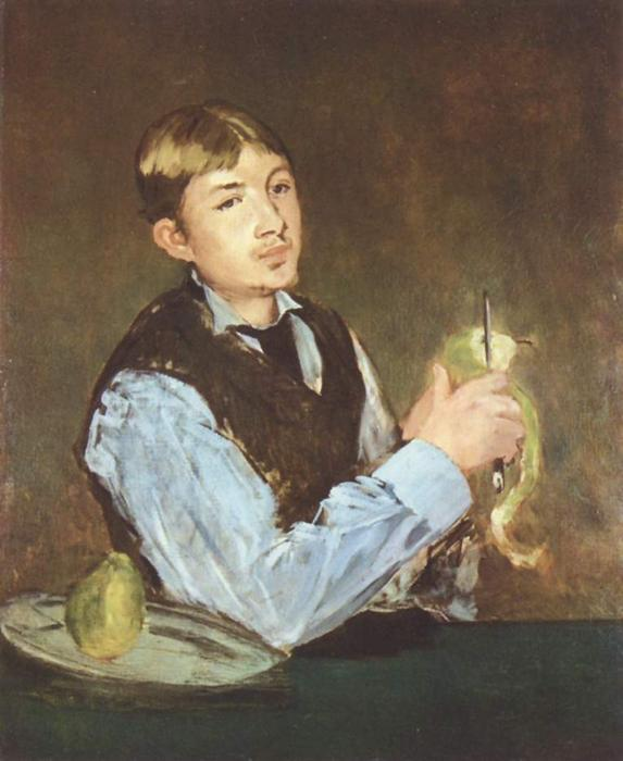 famous painting A young man peeling a pear (Portrait Of Leon Leenhoff) of Edouard Manet