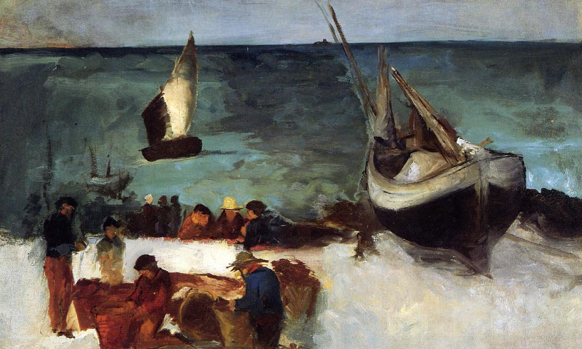 famous painting Seascape at Berck, Fishing Boats and Fishermen of Edouard Manet